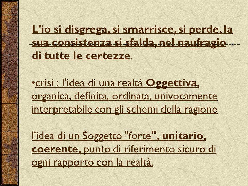 crisi : l idea di una realtà Oggettiva, organica, definita, ordinata, univocamente interpretabile con gli schemi della ragione l'idea di un Soggetto forte , unitario, coerente, punto di riferimento sicuro di ogni rapporto con la realtà.