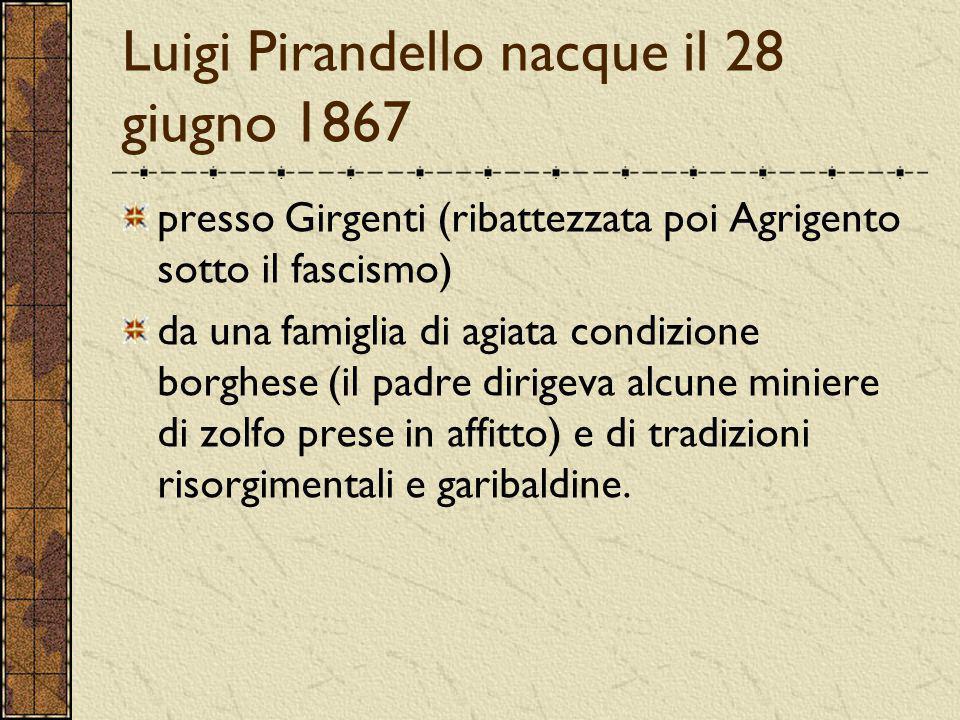 Luigi Pirandello nacque il 28 giugno 1867