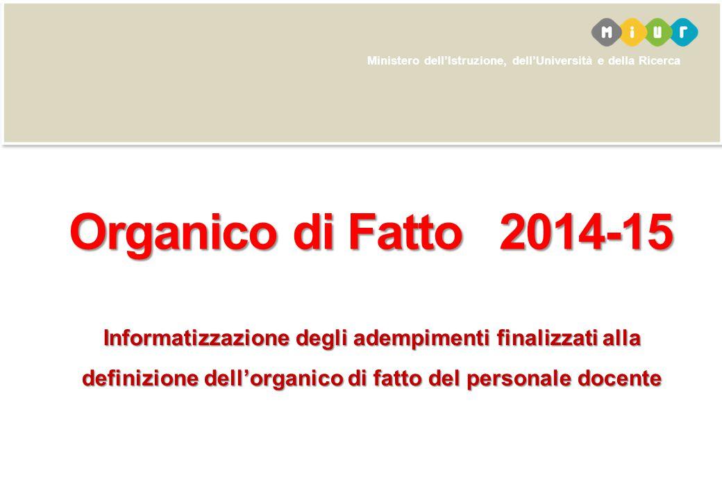 Organico di Fatto 2014-15 Informatizzazione degli adempimenti finalizzati alla definizione dell'organico di fatto del personale docente.