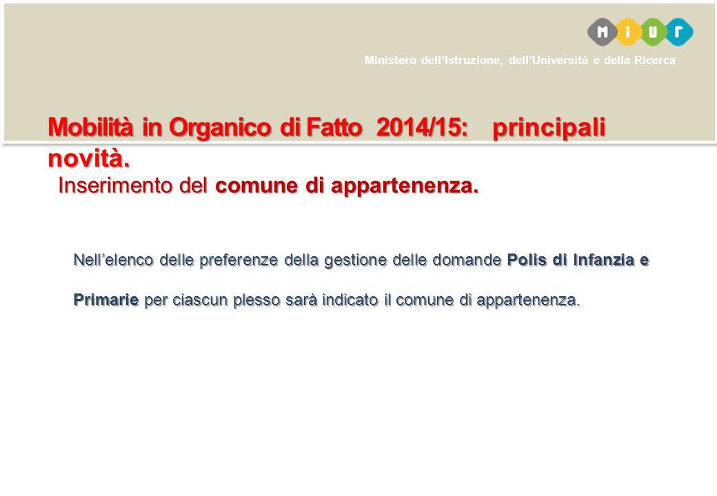 Mobilità in Organico di Fatto 2014/15: principali novità.