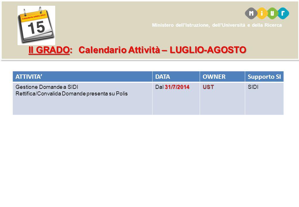 II GRADO: Calendario Attività – LUGLIO-AGOSTO