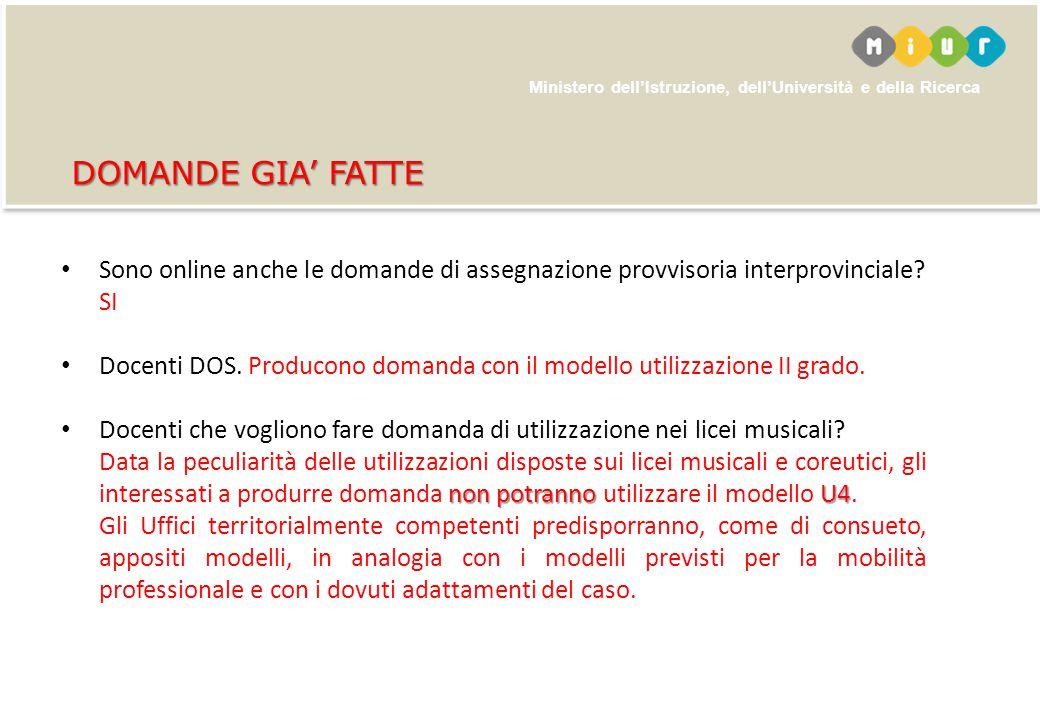 DOMANDE GIA' FATTE Sono online anche le domande di assegnazione provvisoria interprovinciale SI.