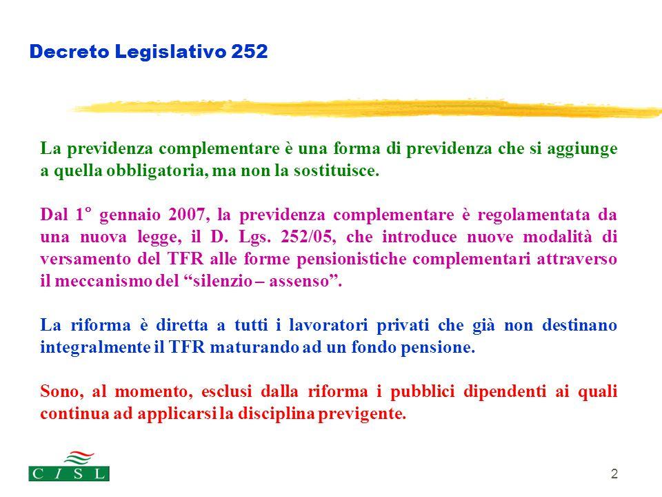 Cometa Decreto Legislativo 252. La previdenza complementare è una forma di previdenza che si aggiunge a quella obbligatoria, ma non la sostituisce.