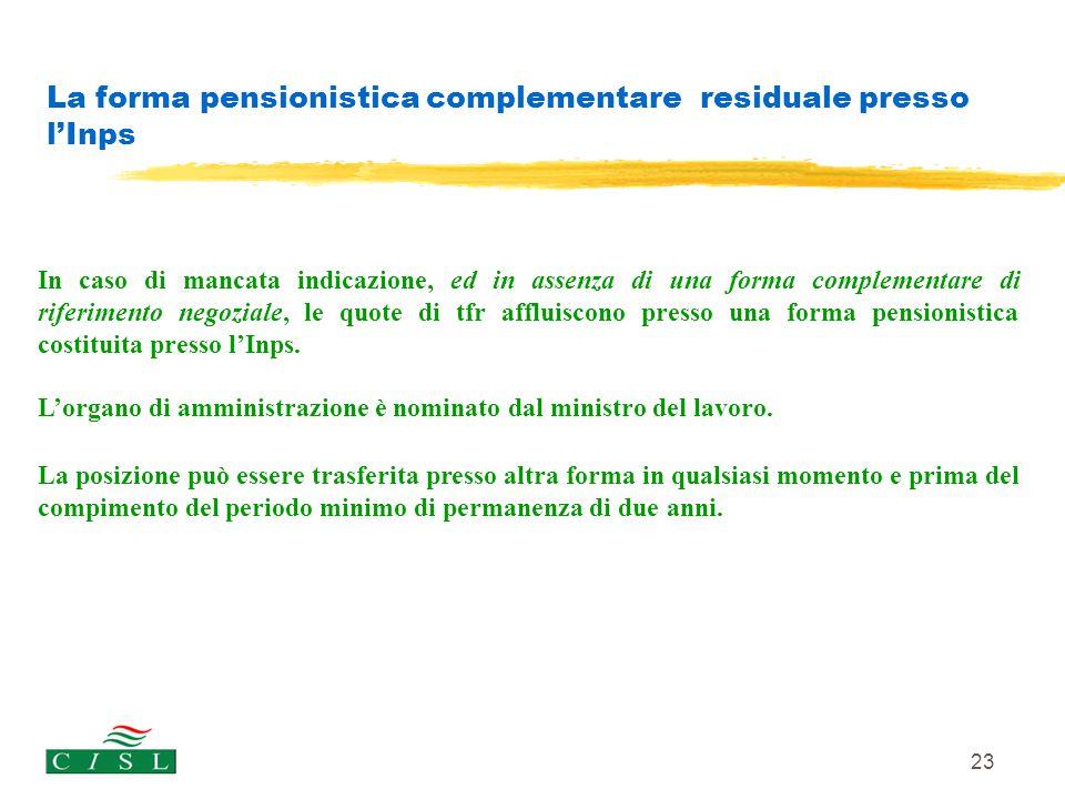 La forma pensionistica complementare residuale presso l'Inps