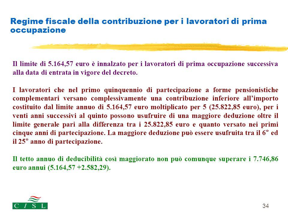 Regime fiscale della contribuzione per i lavoratori di prima occupazione