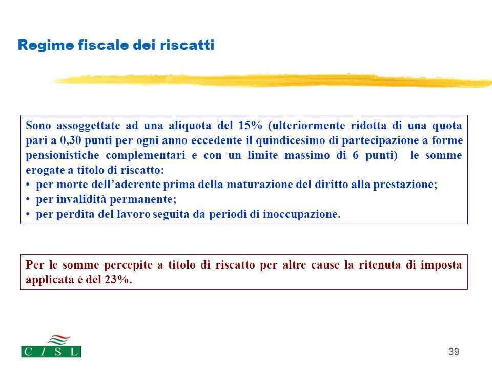Regime fiscale dei riscatti