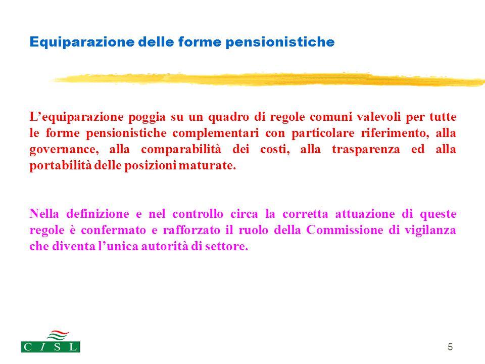 Equiparazione delle forme pensionistiche