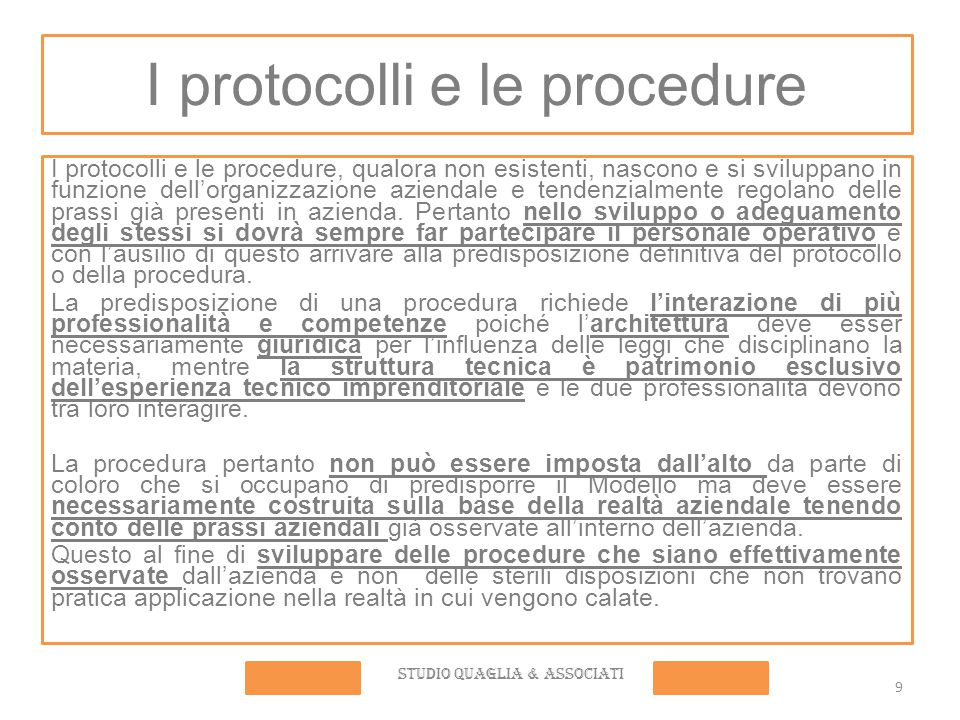 I protocolli e le procedure