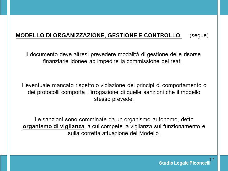 MODELLO DI ORGANIZZAZIONE, GESTIONE E CONTROLLO (segue)
