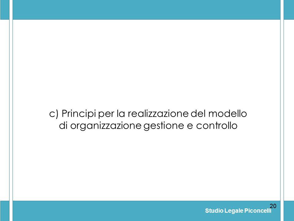 c) Principi per la realizzazione del modello di organizzazione gestione e controllo