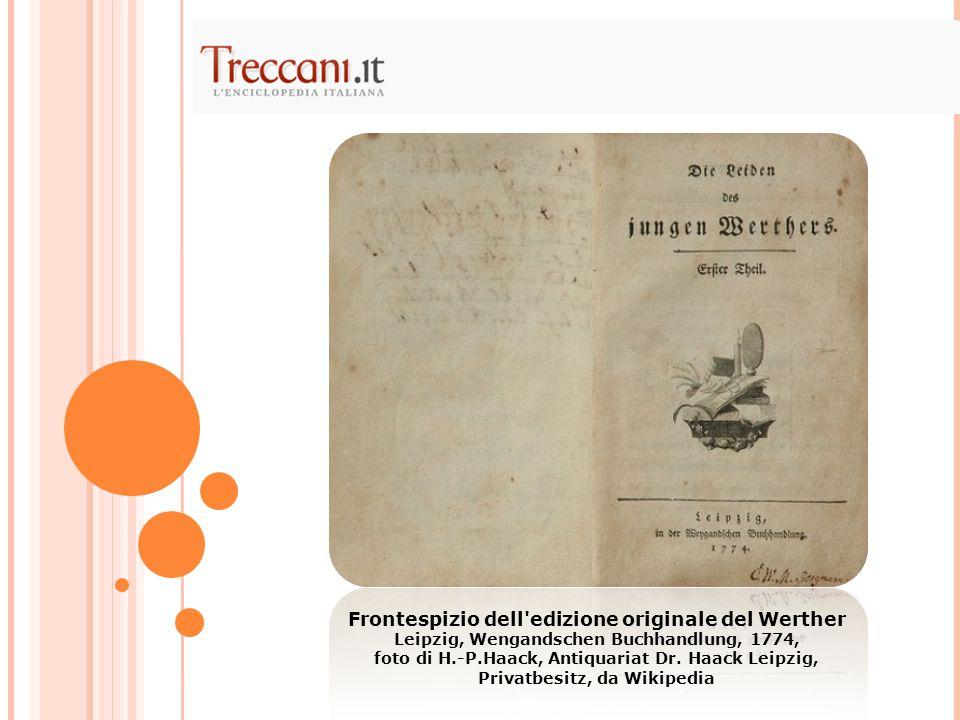 Frontespizio dell edizione originale del Werther