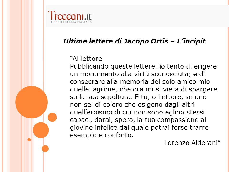 Ultime lettere di Jacopo Ortis – L'incipit