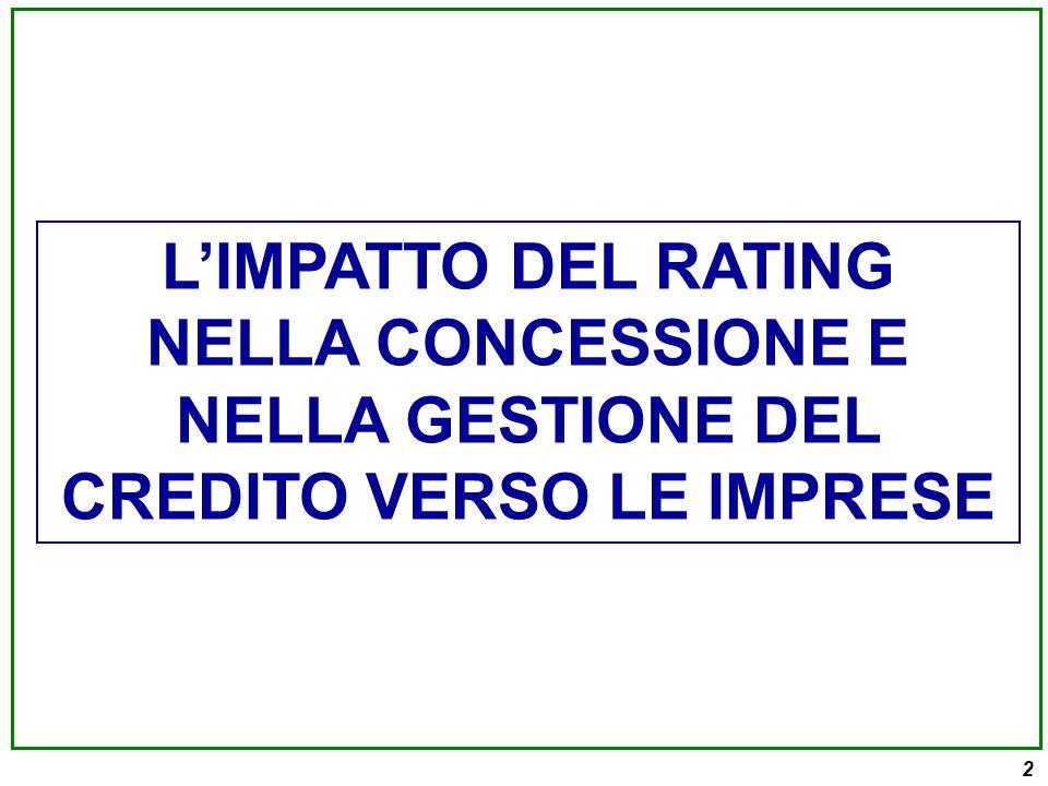 L'IMPATTO DEL RATING NELLA CONCESSIONE E NELLA GESTIONE DEL CREDITO VERSO LE IMPRESE