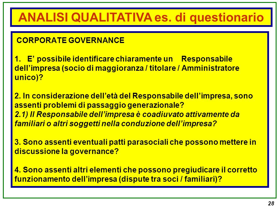 ANALISI QUALITATIVA es. di questionario