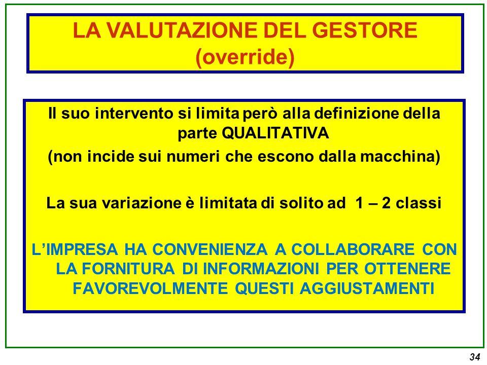 LA VALUTAZIONE DEL GESTORE (override)