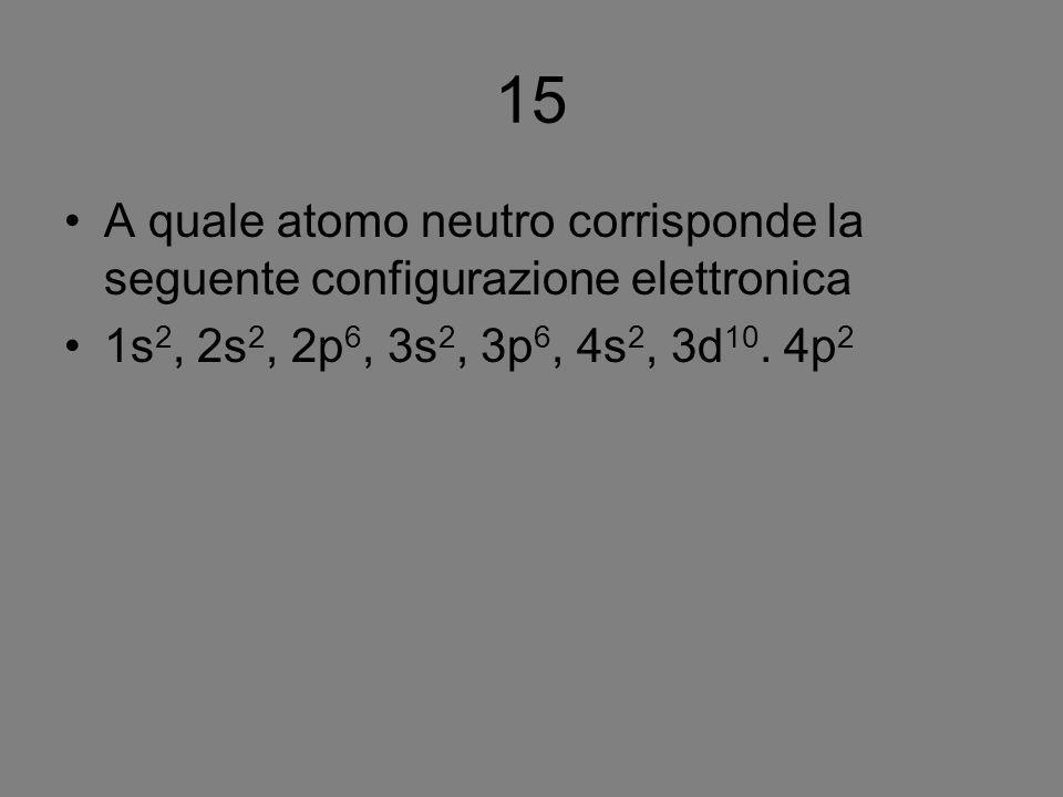 15 A quale atomo neutro corrisponde la seguente configurazione elettronica.