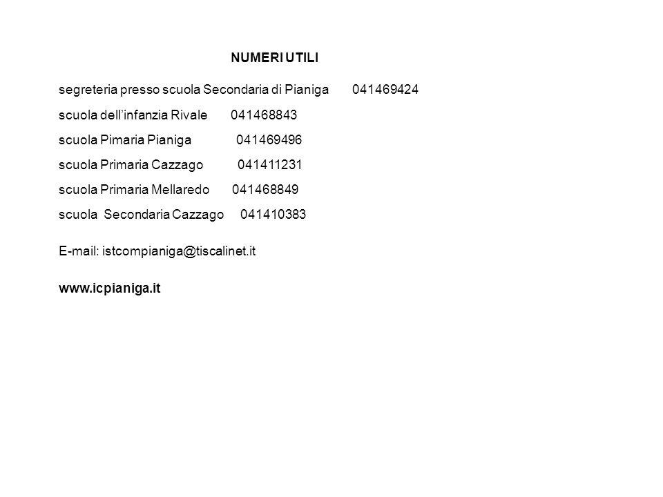 NUMERI UTILI segreteria presso scuola Secondaria di Pianiga 041469424. scuola dell'infanzia Rivale 041468843.