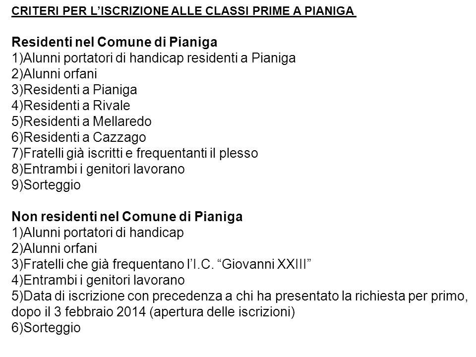 Residenti nel Comune di Pianiga