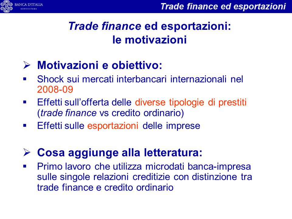Trade finance ed esportazioni: