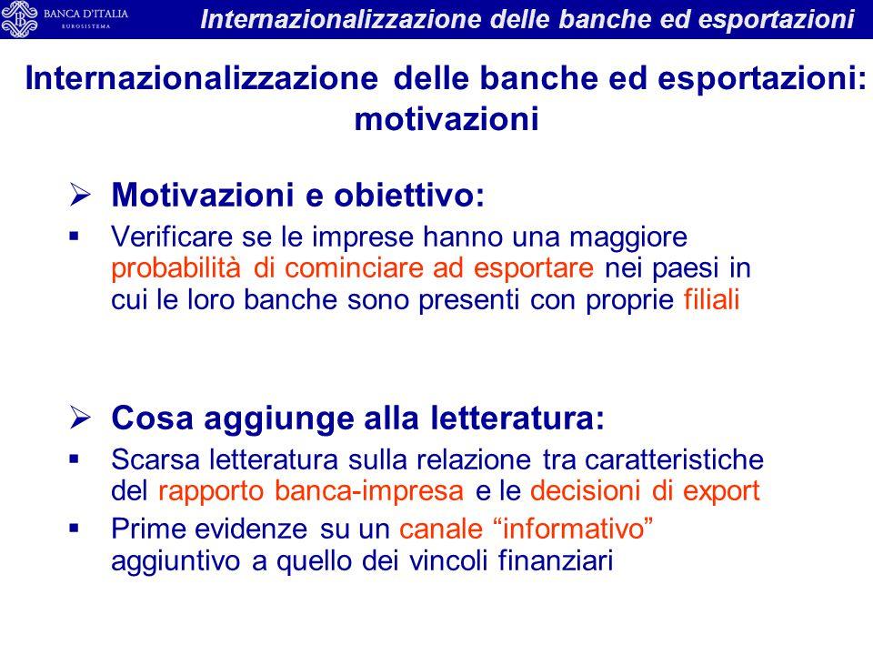 Internazionalizzazione delle banche ed esportazioni: motivazioni