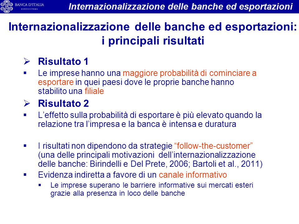 Internazionalizzazione delle banche ed esportazioni