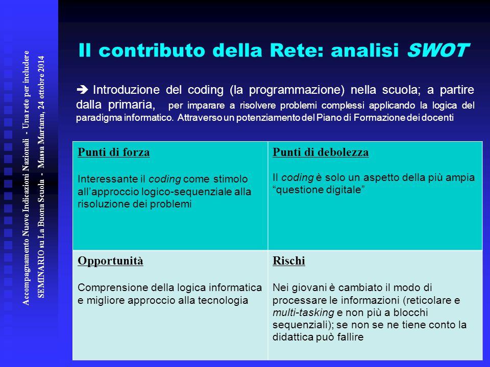 Il contributo della Rete: analisi SWOT
