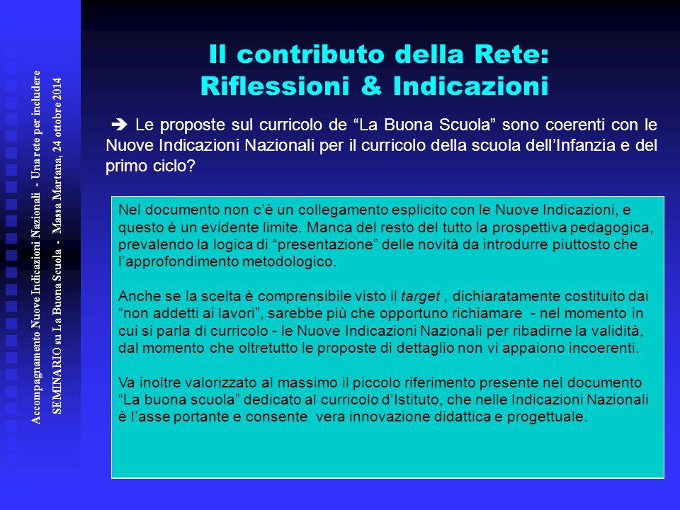 Il contributo della Rete: Riflessioni & Indicazioni