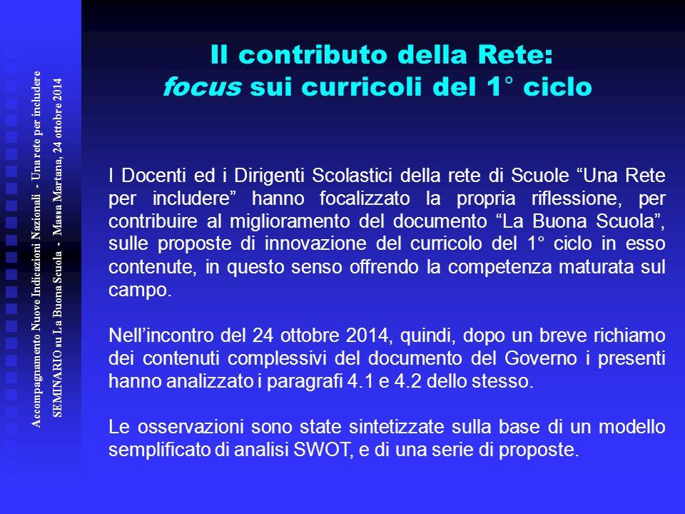 Il contributo della Rete: focus sui curricoli del 1° ciclo