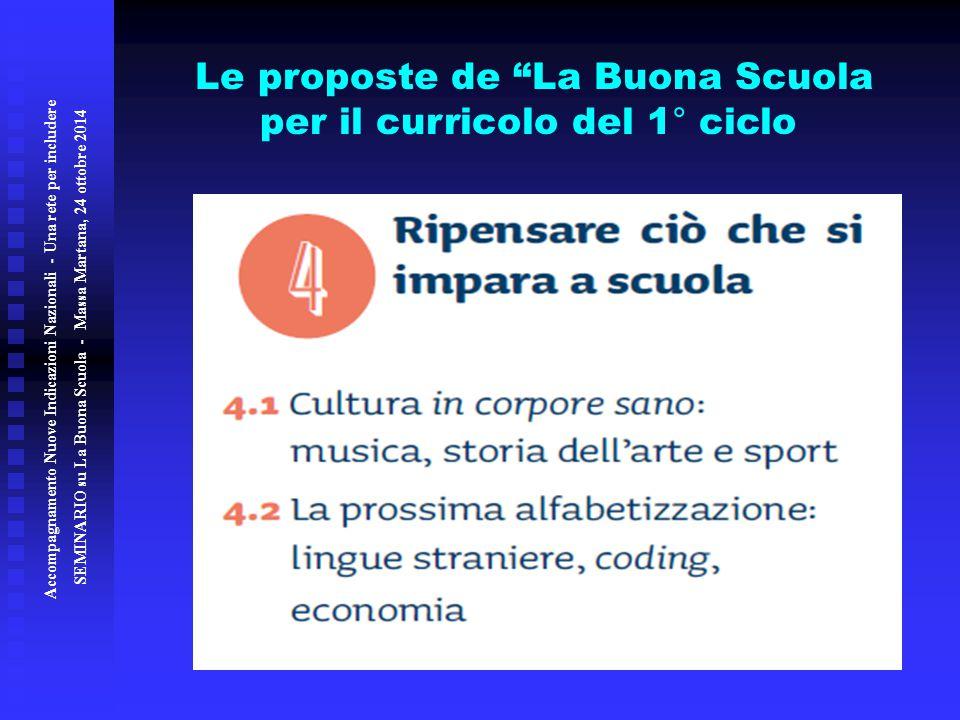 Le proposte de La Buona Scuola per il curricolo del 1° ciclo