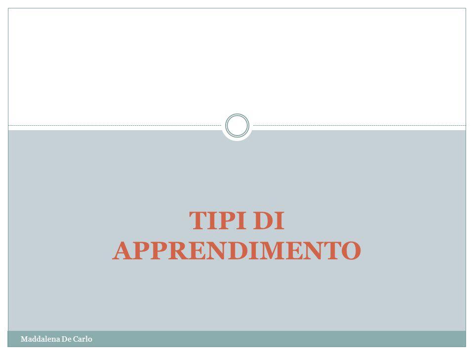 TIPI DI APPRENDIMENTO Maddalena De Carlo