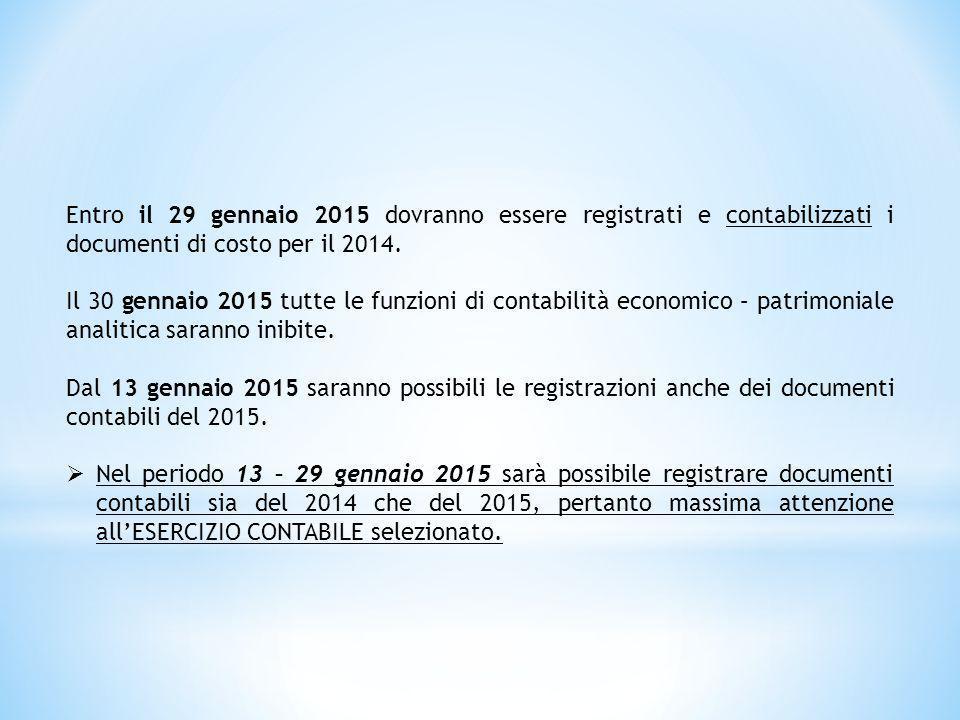 Entro il 29 gennaio 2015 dovranno essere registrati e contabilizzati i documenti di costo per il 2014.