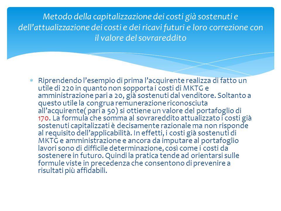 Metodo della capitalizzazione dei costi già sostenuti e dell'attualizzazione dei costi e dei ricavi futuri e loro correzione con il valore del sovrareddito