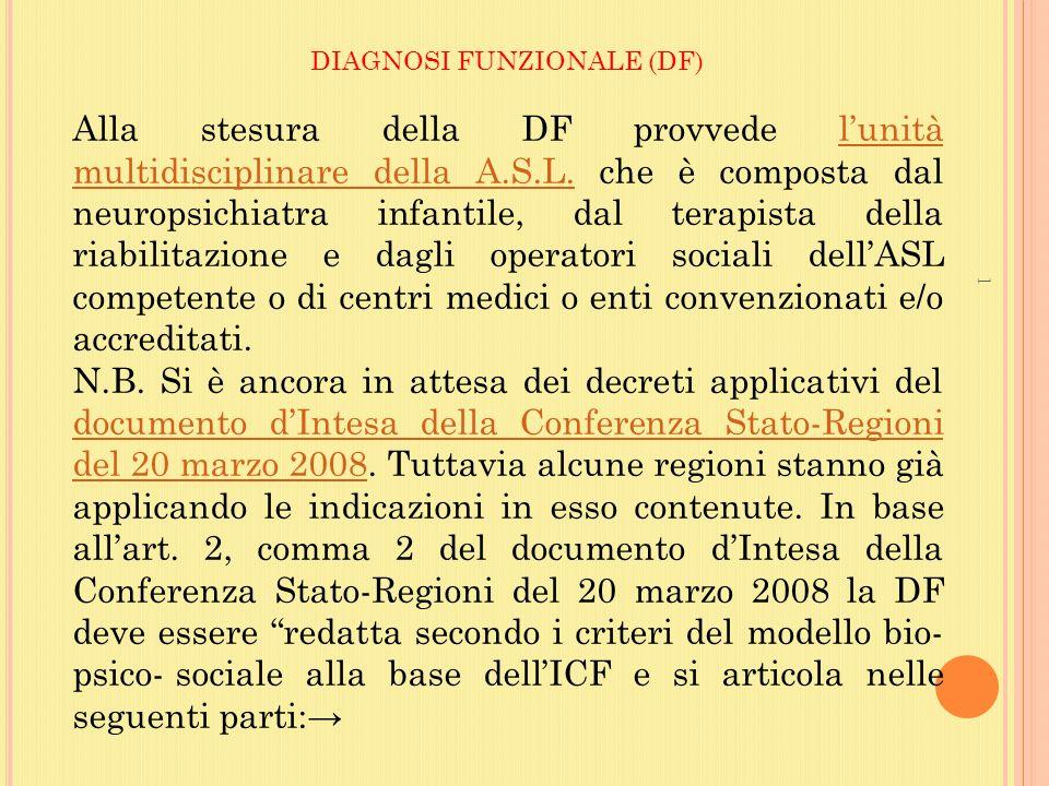 DIAGNOSI FUNZIONALE (DF)