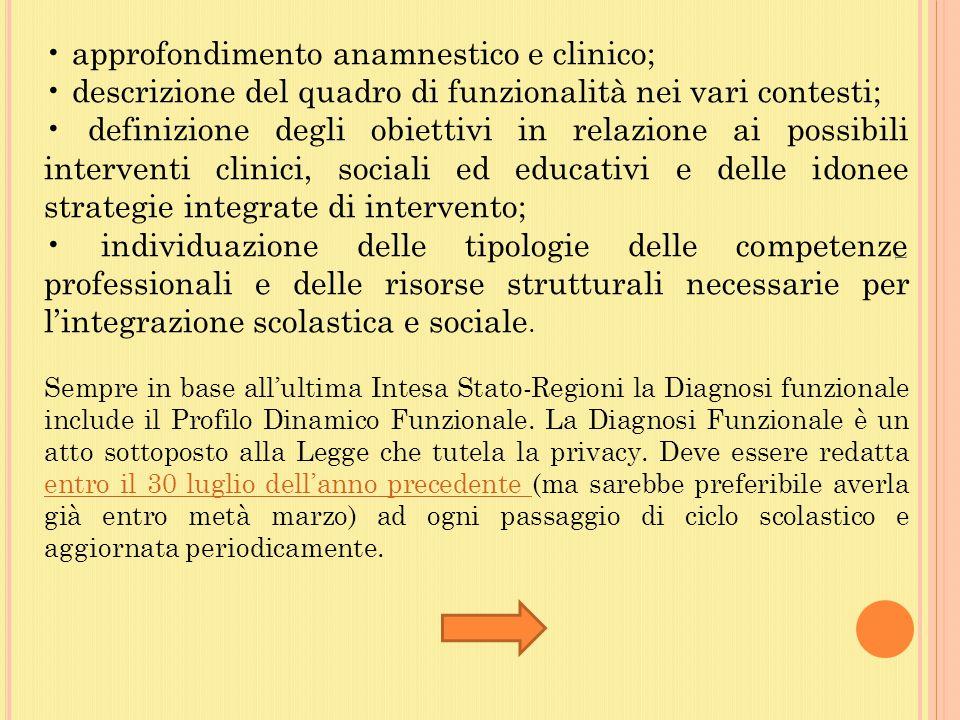 • approfondimento anamnestico e clinico;