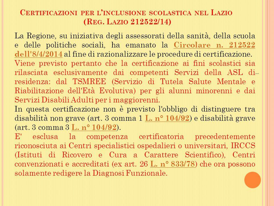 Certificazioni per l'inclusione scolastica nel Lazio (Reg