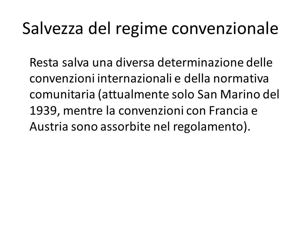 Salvezza del regime convenzionale
