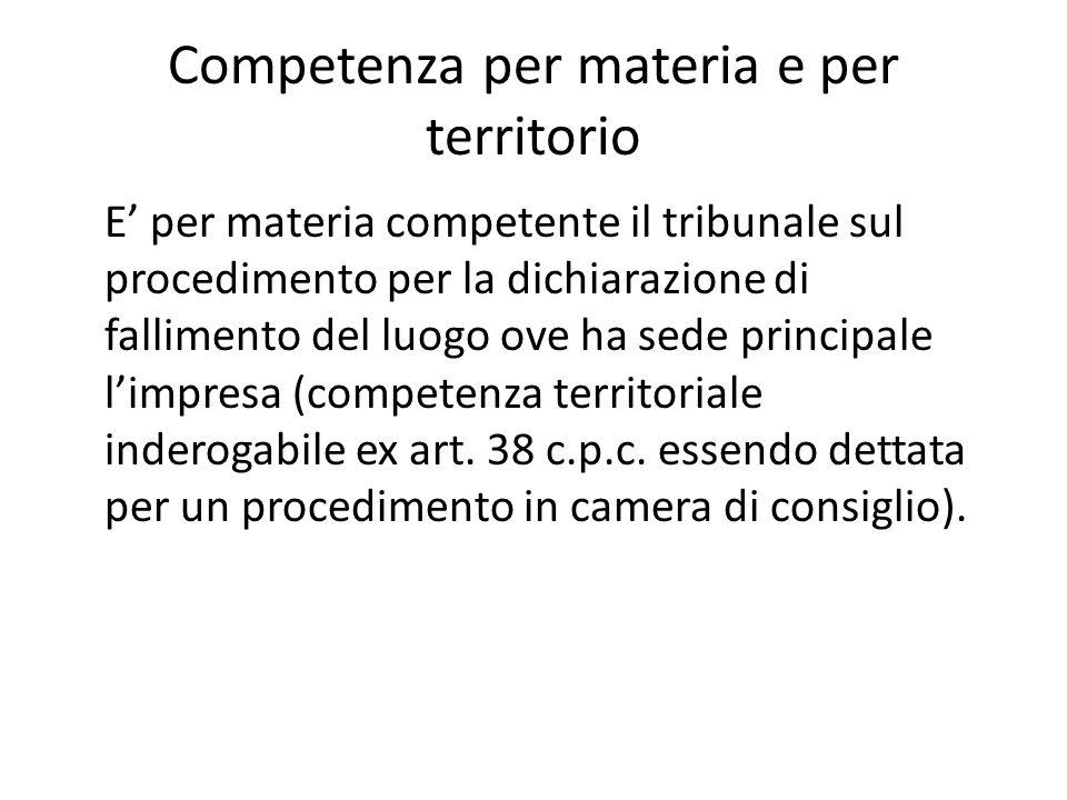 Competenza per materia e per territorio