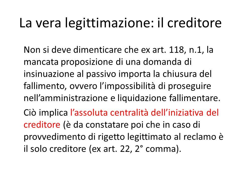La vera legittimazione: il creditore