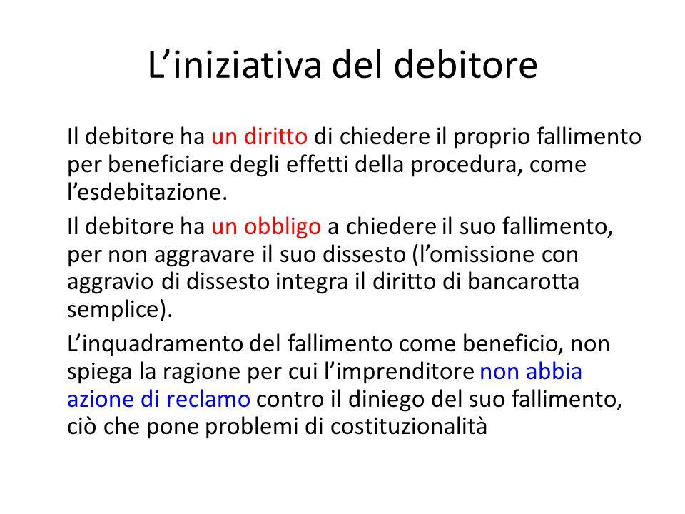 L'iniziativa del debitore