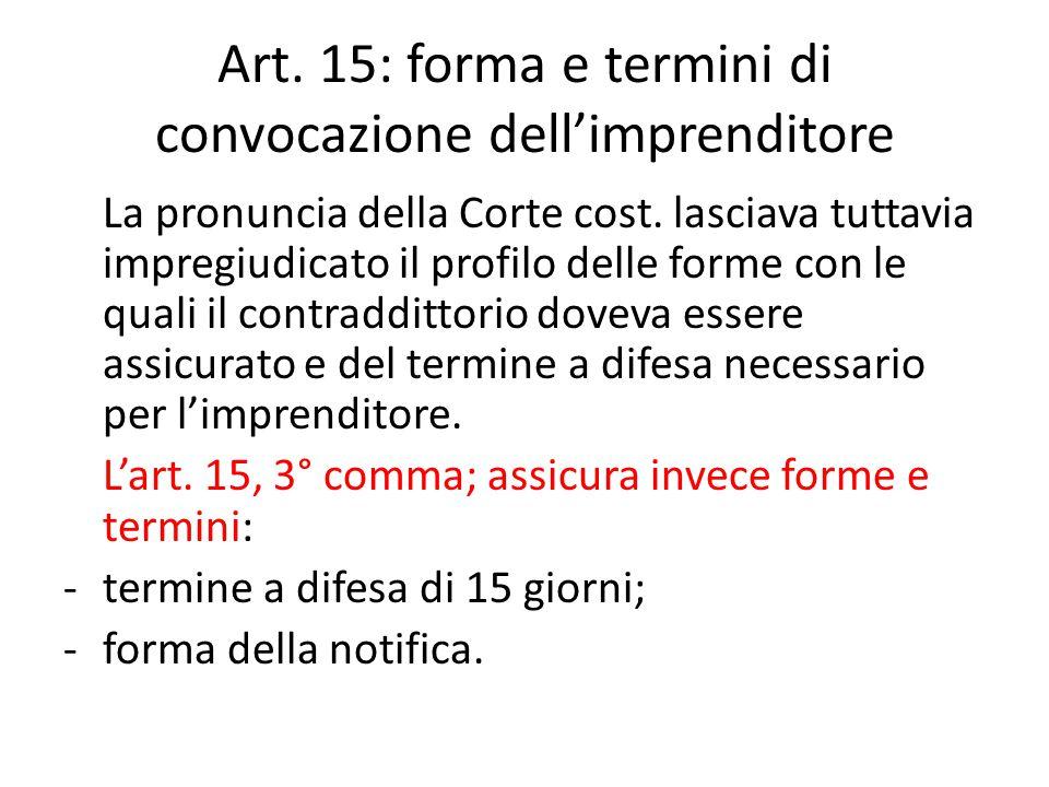 Art. 15: forma e termini di convocazione dell'imprenditore