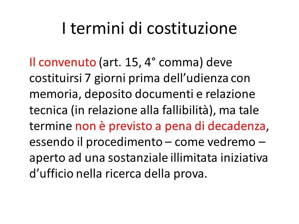 I termini di costituzione
