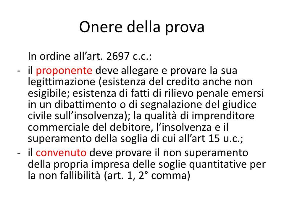 Onere della prova In ordine all'art. 2697 c.c.: