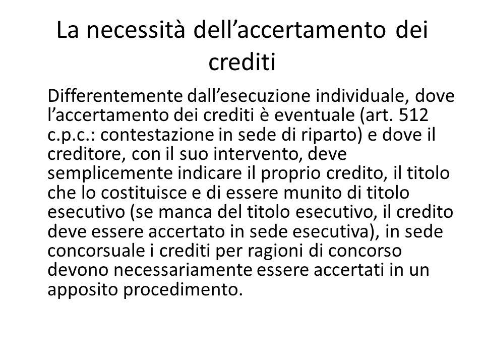 La necessità dell'accertamento dei crediti