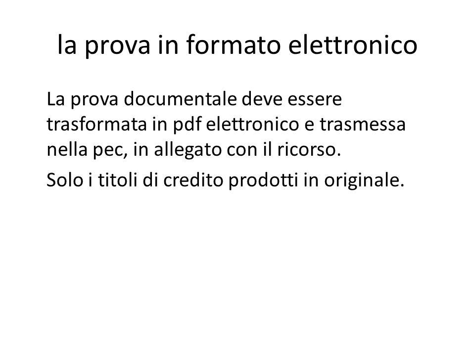 la prova in formato elettronico