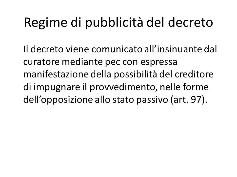 Regime di pubblicità del decreto