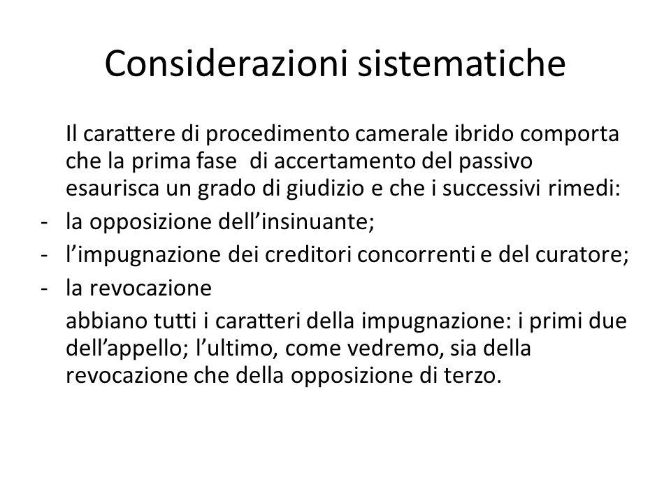 Considerazioni sistematiche