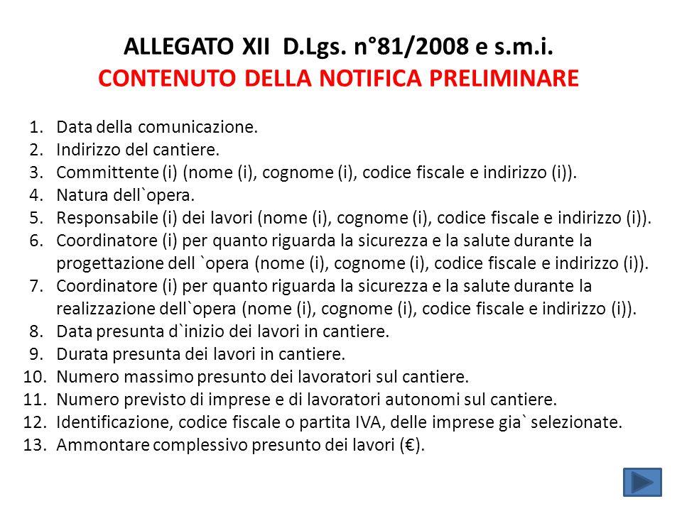 ALLEGATO XII D. Lgs. n°81/2008 e s. m. i