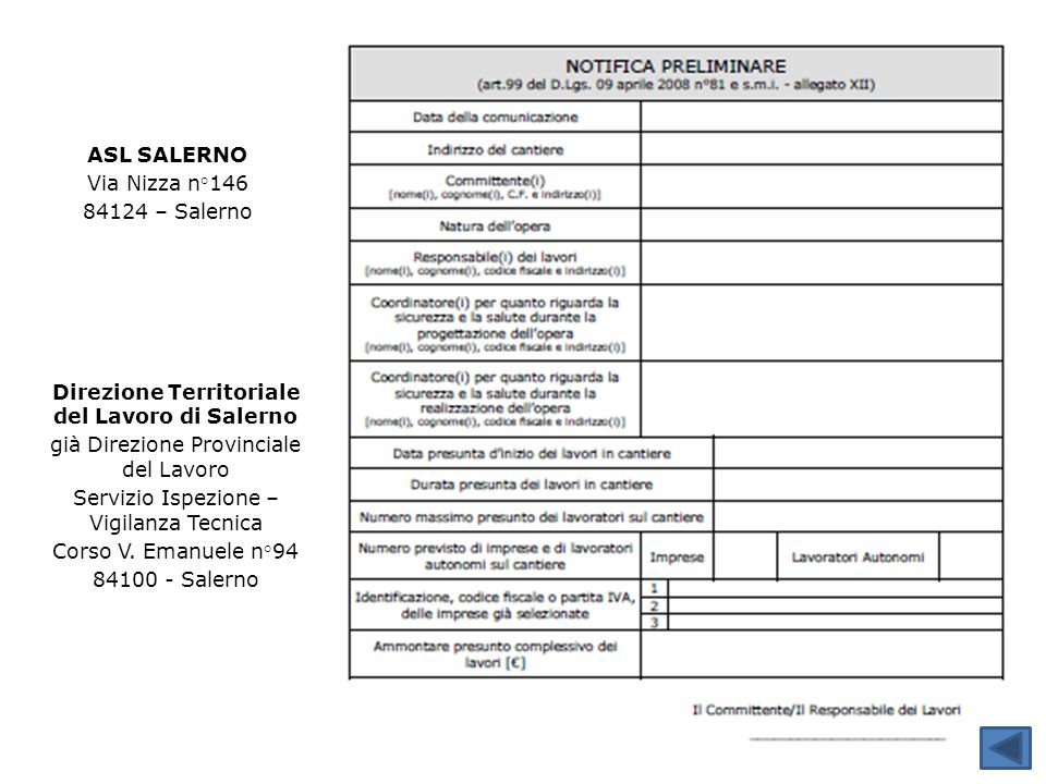 Direzione Territoriale del Lavoro di Salerno