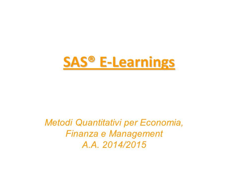 Metodi Quantitativi per Economia, Finanza e Management A.A. 2014/2015