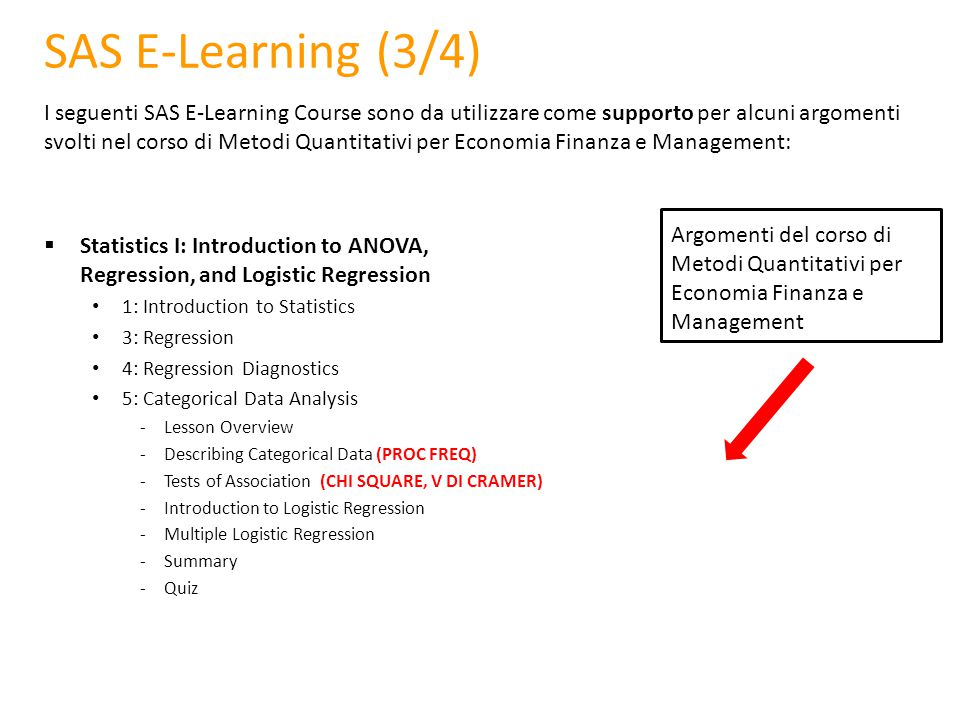 SAS E-Learning (3/4)
